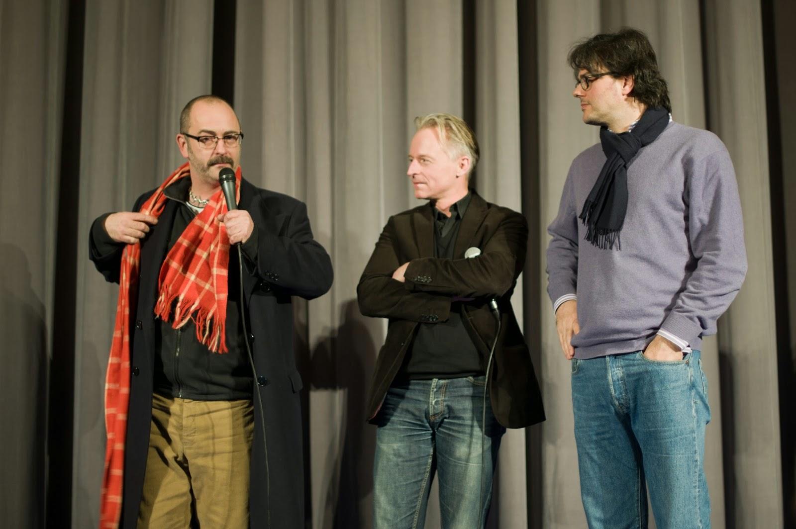 on stage: Douglas Gordon, Olaf Stüber, Ivo Wessel