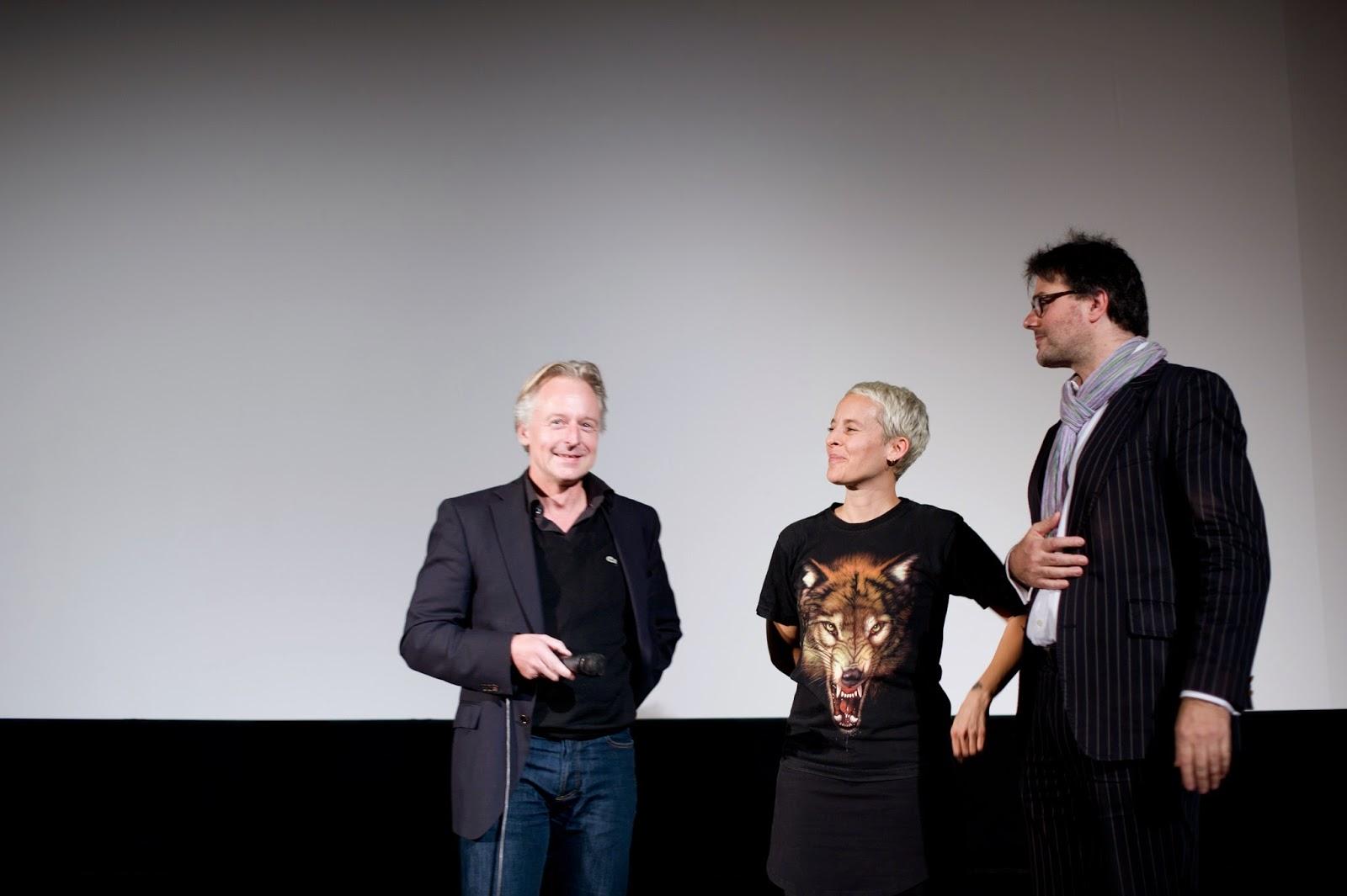 on stage: Olaf Stüber, Candice Breitz, Ivo Wessel